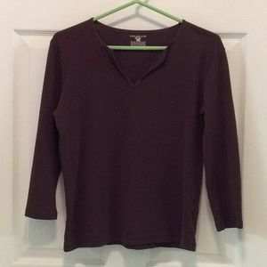3/4 sleeve brown satin trimmed T-shirt